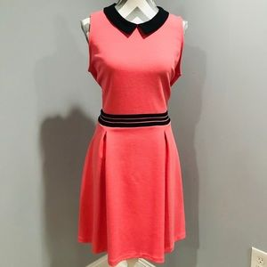 Women's Peach Dress with black collar by Elle